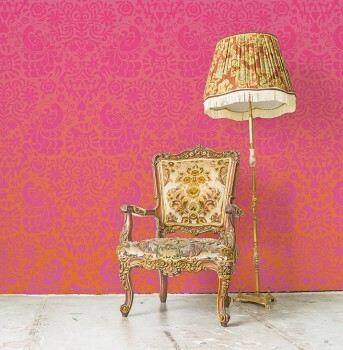 Wandbild Blumen Orange Pink Verlauf
