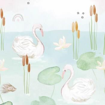Wandbild Teich Schwan Rosa