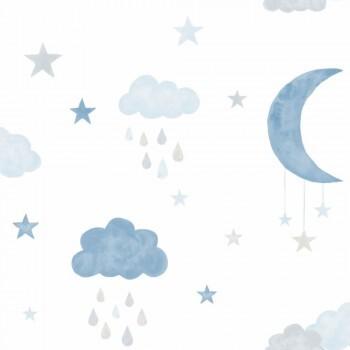 Vliestapete Wolken Mond Blau