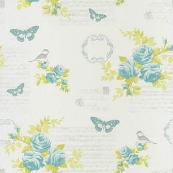 Vlies-Tapete Blau Muster Blumen