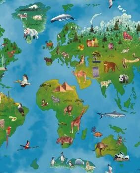 Landkarten Papiertapete Bunt Tiere