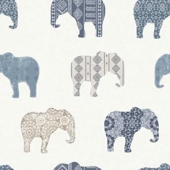 Tapete Elefanten Beige Blau