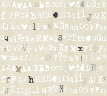 Vliestapete Beige Buchstaben Zeichen