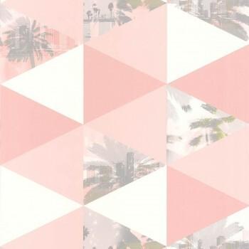 Caselio - Tonic 36-TONI69434224 Vliestapete Palmen rosa Dreiecke