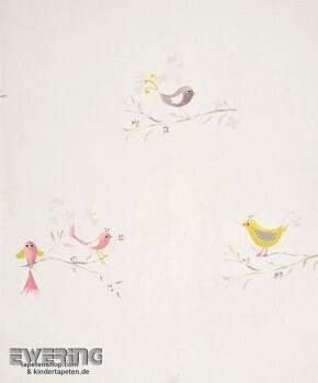 Papier-Tapete Creme-Weiß Vögel