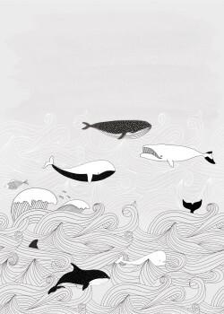 Meer Wandbild Grau Wellen Wale Vlies
