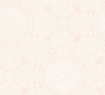 Tapete Blumen-Muster Apricot-Orange