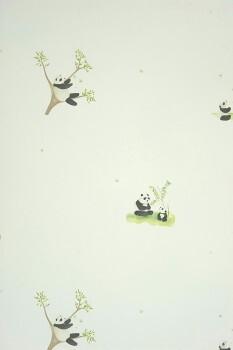 Papiertapete Pandabär Creme