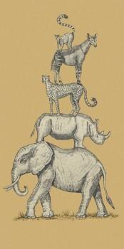 Wandbild Tiere Gestapelt Currygelb