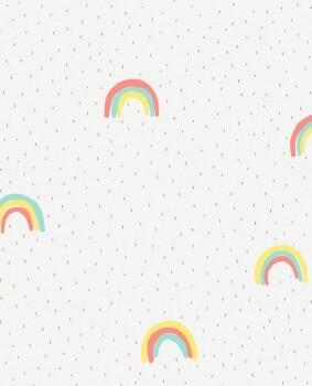 Regenbogen Tapete Bunt Creme