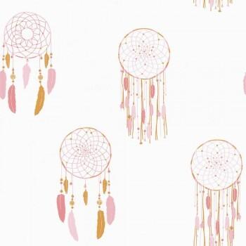 Tapete Weiß Pink Traumfänger