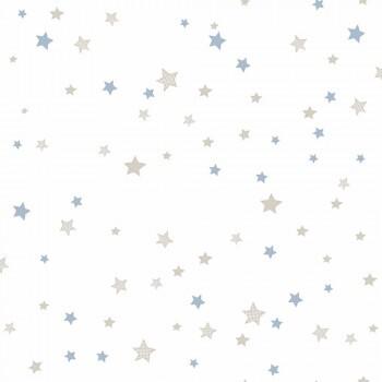 Tapete Sterne Hellblau Beige