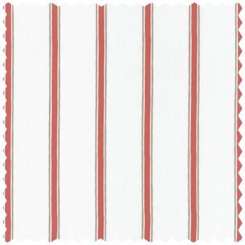 Dekostoff Creme Rot Streifen