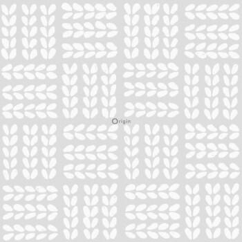Vliestapete Creme-Weiß Perlmutt Blätter