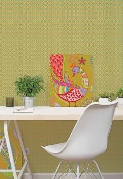 Wandbild Grün Feines Blümchen-Muster