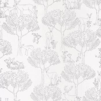 Papiertapete Silber Wald