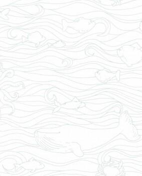 Tapete Weiß Mint Wellen Fische Wale