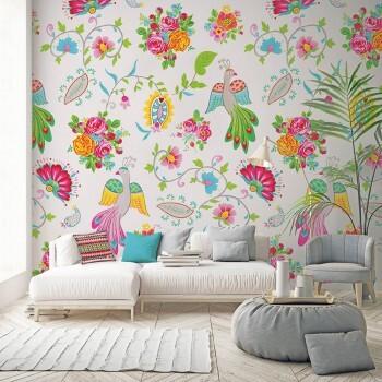 Wandbild Creme Vögel Blumen Bunt