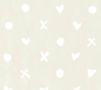 Beige Vliestapete Herz Kreuz Punkt Weiß