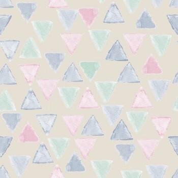 Tapete Dreiecke Vlies Creme Rosa Blau Grün