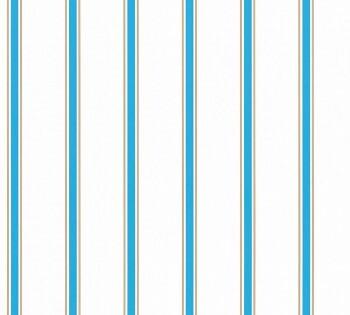 Streifen Blau-Braun Papiertapete