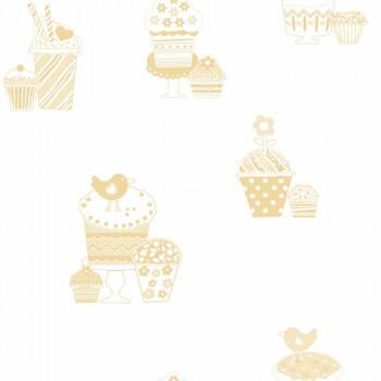 Vlies Tapete Gold Cupcakes Glänzend