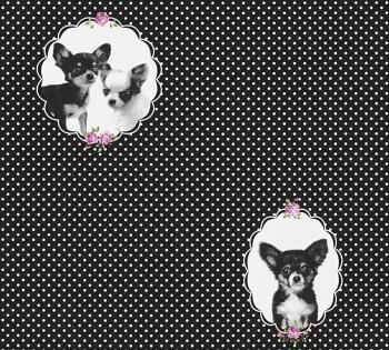 Vliestapete Hunde Punkte Schwarz
