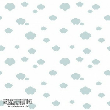 Wolken Voile Blau Creme-Weiß