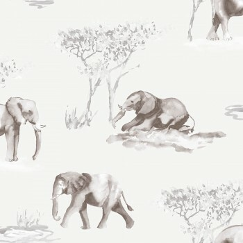 Tapete Aquarell Elefanten Grau-Braun
