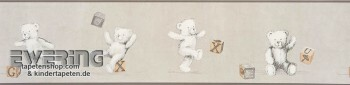 Papiertapete Borte Grau Teddy-Bär