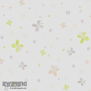 Baumwoll-Stoff Schmetterlinge Weiß