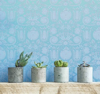 Wandbild Dunkel-Blau Verzierungen Blumen