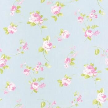 Vliestapete Himmel-Blau Rosa Blumen