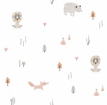 Papiertapete Wald Tiere Weiß Braun Grau Ohlala 335030