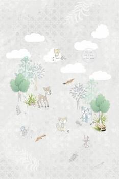 Wandbild Beige Wald Tiere