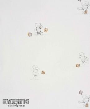Papiertapete Creme-Weiß Teddy-Bär