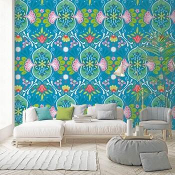 Wandbild Grafische Blumen Blau