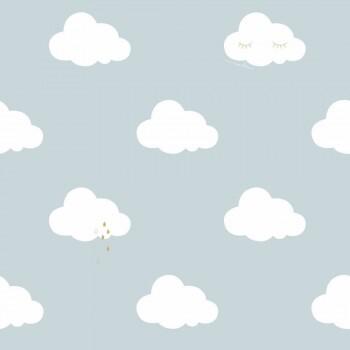 Wolken Tapete Hellblau