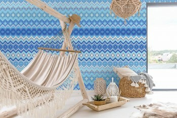 Wandbild Blaues Zickzack-Muster