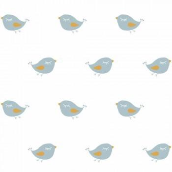 Vögel Blau Tapete Weiß