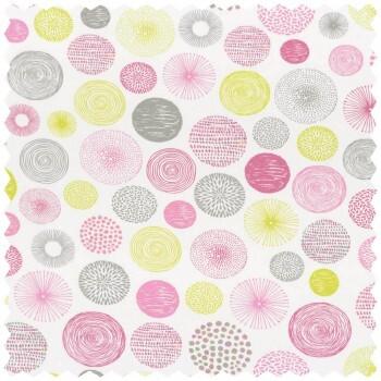 Dekostoff Kreise Grün-Pink