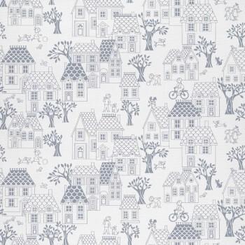 Blau Häuser-Tapete