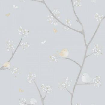 Vliestapete Beige Blau Äste Vögel