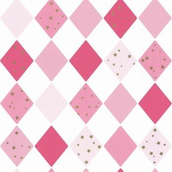 Vliestapete Weiß Pinke Karos