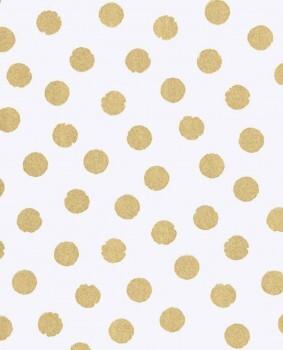 Vlies-Tapete Gold Weiß Punkte Glitzer