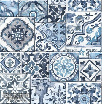 Rasch Textil Reclaimed 23-022316 Vliestapete Kachelmuster blau