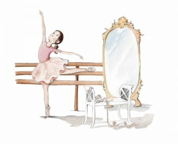 Ballerina Wand-Sticker Rosa