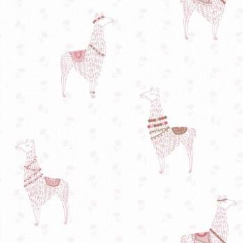 Tapete Weiß Rosa Lamas