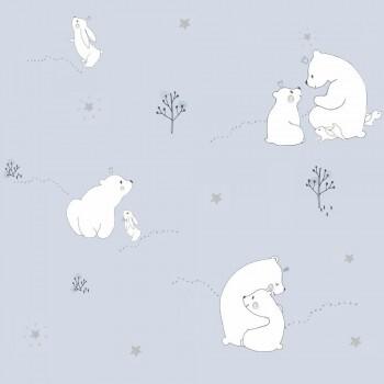 Tapete Bären Hellblau