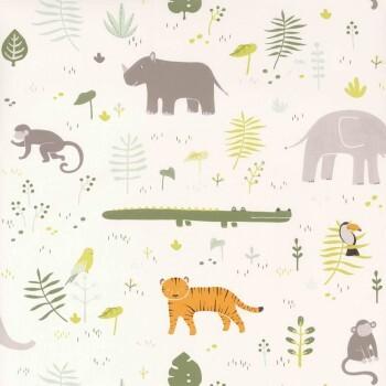 Tapete Grün Tiere Dschungel